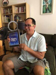 Billy with award